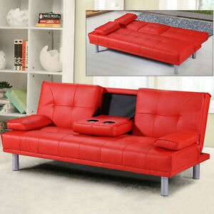 Image Is Loading Modern Faux Leather 3 Seater Sofa Bed Amp