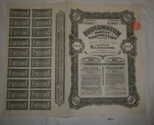 1 Pfund 10 Aktien Photomaton Parent Corporation London 23. Juli 1928 (126914) Einen Einzigartigen Nationalen Stil Haben