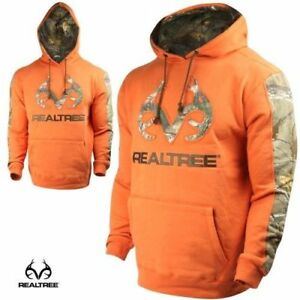 Realtree-Men-039-s-LARGE-Pine-Rust-Orange-Hoodie-Realtree-Xtra-Camo-Embroidered-Logo