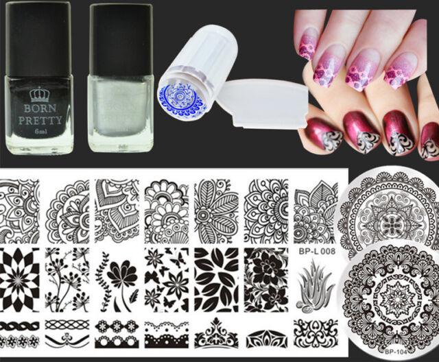 7Pcs/Set Arabesque  Nail Art Stamp Plates Stamping Polish W/Stamper Scraper DIY