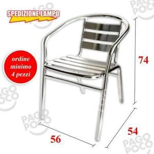Sedie Bar Alluminio Prezzi.Dettagli Su Sedia Alluminio Bar Giardino Da Esterno Con Braccioli Impilabili Prezzo Shock