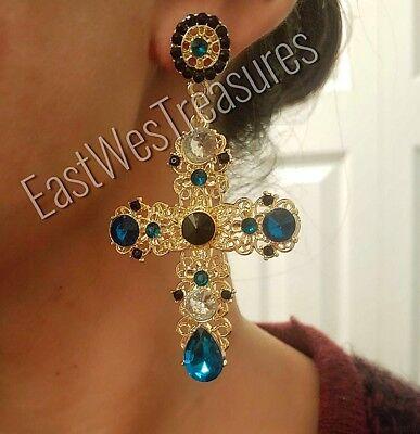 Large gold Rhinestone Victorian Cross Dangle drop Statement Earrings for women