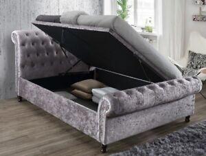 Swell Details About Castello Velvet Ottoman Bed Double King Super King Size Crushed Steel Side Inzonedesignstudio Interior Chair Design Inzonedesignstudiocom