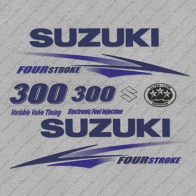 Suzuki 250HP Four Stroke Outboard Engine Sticker Decals Set reproduction White