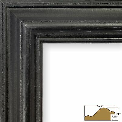 Black Weathered Distressed Solid Wood Picture Frames-Custom Standard Sizes