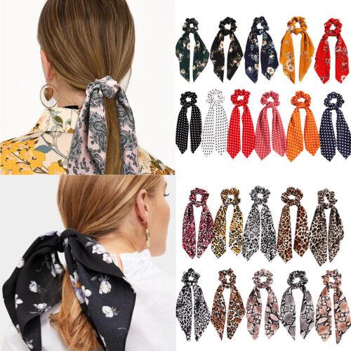 Fashion Printed Scrunchie Ribbon Elastic Hair Band Bow Scarf Hair Rope Tie Ring