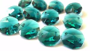 100pc Caribbean Teal Green 14mm Chandelier Crystals Octagon Beads