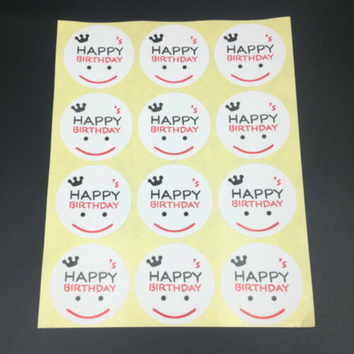 120 happy birthday Round Seal Sticker for homemade bakery /& gift packaging Label