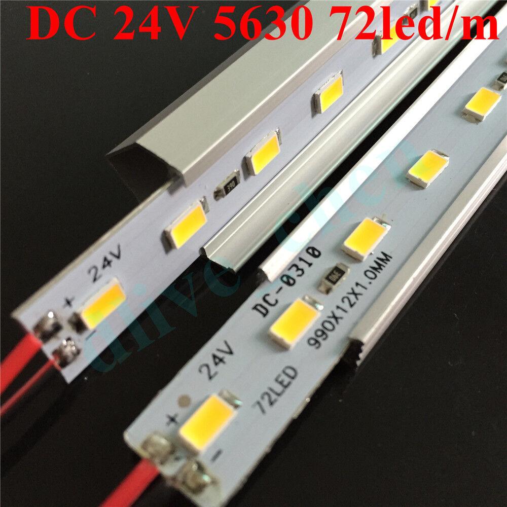 DC 24V 5630 LED luz de tira rígido Bar U V de aluminio caso Shell 100cm 50cm 25cm