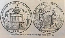 1865 CIVIL WAR newspaper ARTIST VIEW new CONFEDERATE Fifty-Cent Coin NUMISMATICS