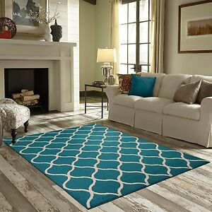 New Area Rug Teal Turquoise White Accent Carpet Floor Mat