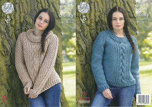 168e58ef5 Ladies Super Chunky Knitting Pattern King Cole Cable Knit Sweaters ...