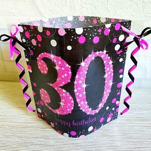 Details Zu Tischdeko Windlicht Aus Servietten 30 Geburtstag Happy Birthday Pink Schwarz