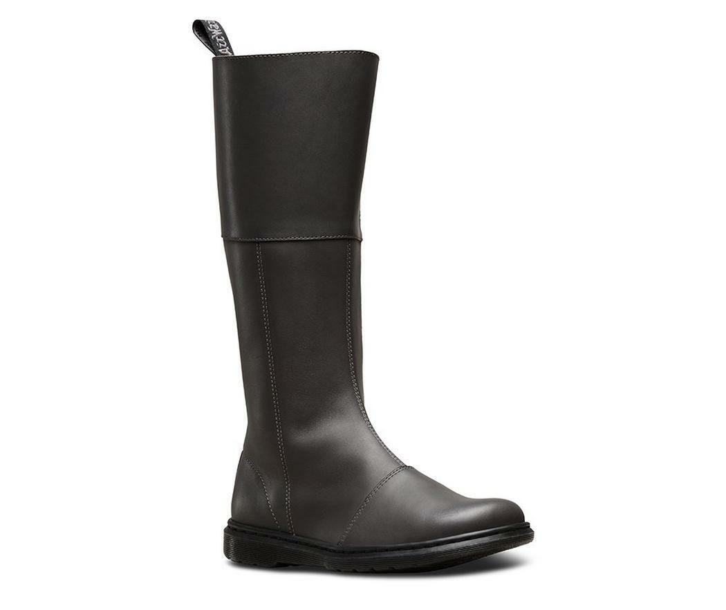 Dr Martens Lahiri Gunmetal grau Temperley Leather Knee High Stiefel Größe UK 5 7