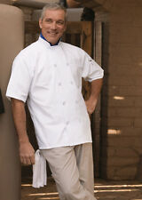 Chef coat  white short sleeve 415 10 buttons new item Men XS to 2XL