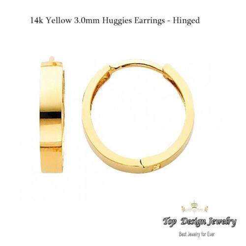 14K or jaune 3 mm épaisseur ronde poli Hoop Huggies Boucles d/'oreilles
