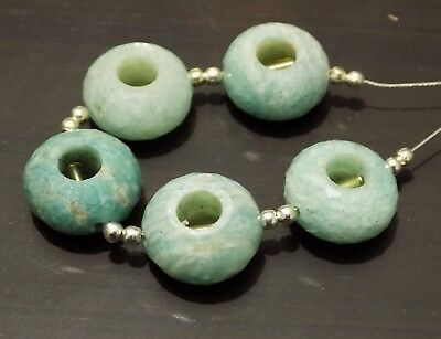 5 Strands Faceted Natural Amazonite Rondelle Beads Strands Findings 8x5mm 15.2/""