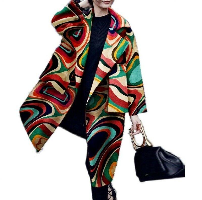 Women's Long Sleeve Jacket Loose Fit Oversized Trench Coat Outwear Windbreaker D