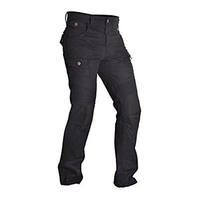 Black Motorbike Motorcycle Armour Cargo Trouser Pants Jeans with Protective Lining 34//31