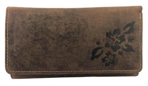 Damen Geldbörse Geldbeutel Echtleder Portemonnaie Braun Vintage