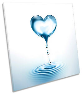 Water Droplet Heart Bathroom Blue Picture Canvas Wall Art Square Print Ebay