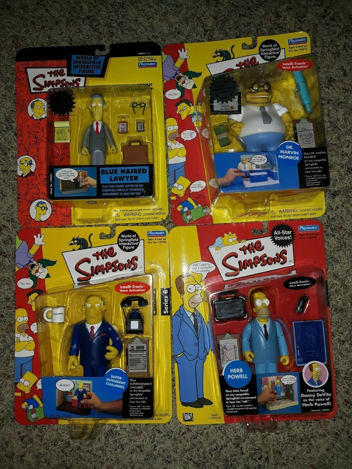 Lot  of 4 PLAYMATES THE SIMPSONS 5  INTELLITRONIC azione cifra  outlet in vendita
