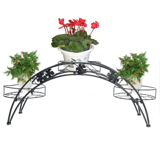 Metal Pot Plant Planter Holder Stand Display Rack Shelf Decor Home for Indoor and Outdoor Garden Black LVPY Plant Pot Stands