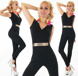 women-039-s-Black-Jumpsuit-Overall-Ladies-Bodycon-Playsuit-Gold-Belt-Sleeveless-UK
