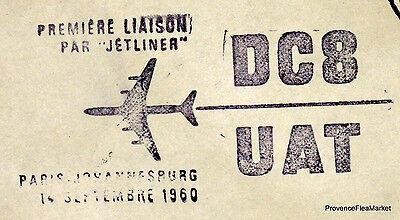 1960 Dc8 Uat Paris Johannesburg Luftpost Luftfahrt Premier Flug Ac01 Frankreich & Kolonien