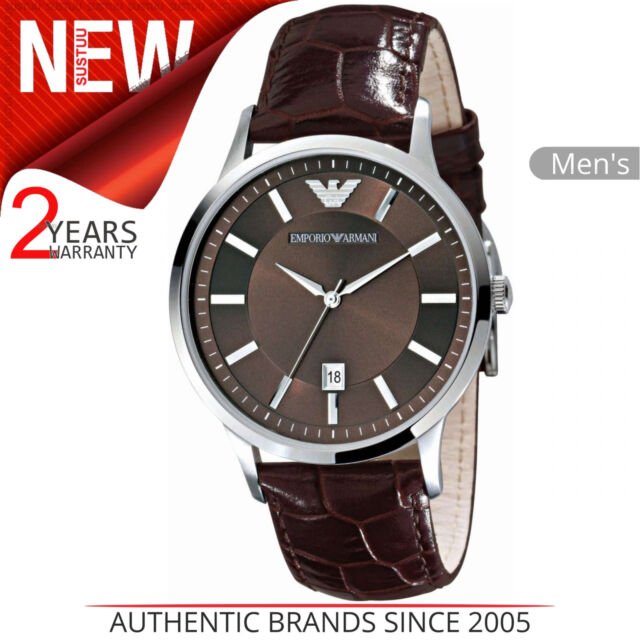 Emporio Armani Classic Men's Formal Watch│Brown Dial│brown Leather Strap│AR2413