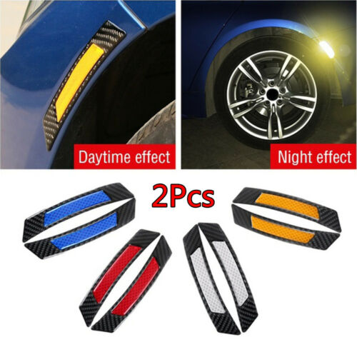 2Pcs Carbon Fiber Protection Car Wheel Eyebrow Edge Reflective Guard Sticker