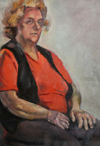 VINTAGE IMPRESSIONIST OIL PAINTING OLD WOMAN PORTRAIT