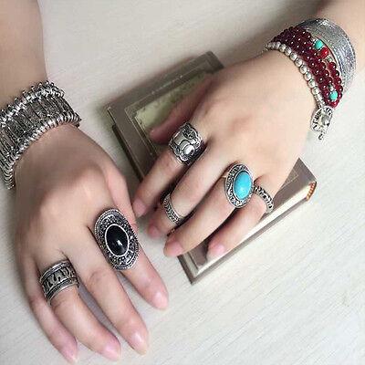 4Pcs Set Hot Sale Retro Silver Plated Boho New Womens Elephant Finger Punk Rings