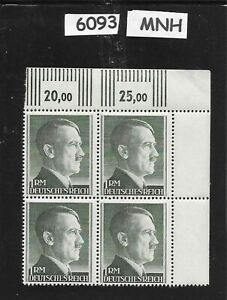 6093-MNH-1940s-Adolph-Hitler-stamp-block-1RM-Original-Third-Reich-Germany