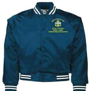 NAVAL STATION GREAT LAKES NORTH CHICAGO IL NAVY EMBROIDERED 2-SIDED SATIN JACKET