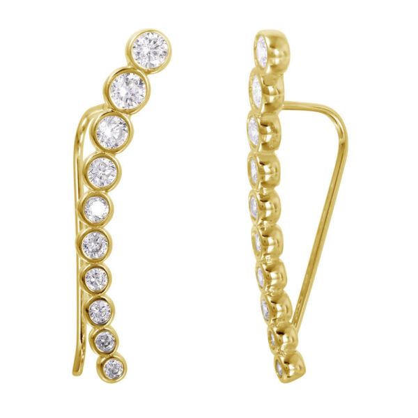 Clever Tropfen Ohrringe M / Kunstdiamanten Diamanten / Gelb Gold über 925
