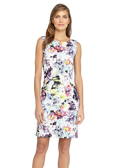 Tahari ASL Wear to Work Floral Print Scuba Sheath Dress Größe 14