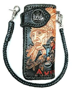 Leather-biker-trucker-motorcycle-Chain-Wallet-hand-Tooled-American-Spirit-Rider