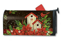 Winter Birdhouse Mail Box Wrap Cardinal Holidays Magnetic Mailwrap Mailbox Cover