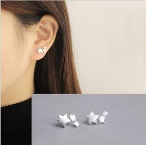 Image Is Loading Women 925 Sterling Silver 3 Stars Star Ear