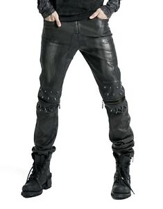 Punk-Rave-Men-039-s-Gothic-Goth-Punk-Rock-Steampunk-Leather-Look-Black-Silver-Pants
