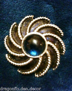 Signed-Vintage-Brooch-amp-Scarf-Clip-S4-1972-AVON-034-MOONWIND-034-Blue-Cabochon-Round