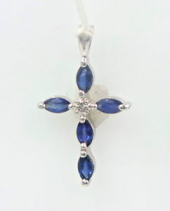d0119e4e4bb 14 kt white gold Cross with sapphires and diamonds Great gift for ...
