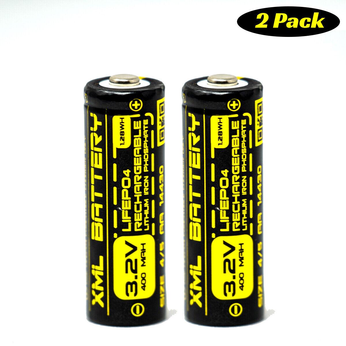 (2 Pack) Solar Garden Light Battery 3.2v 400mAh 4/5AA LifePO4