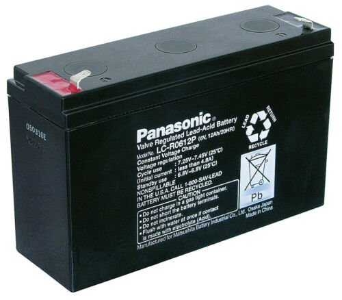 6V Faston 187-4,8mm LC-R0612P Blei-Akku Panasonic 12 Ahm
