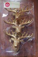 Glitter Deer Head Buck Antlers Hanging Christmas Tree Ornament Gold Reindeer