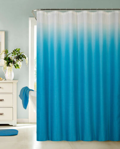 13 Piece Waffle Fabric Ombre Shower Curtain Made With 100/% Polyester Turquoise