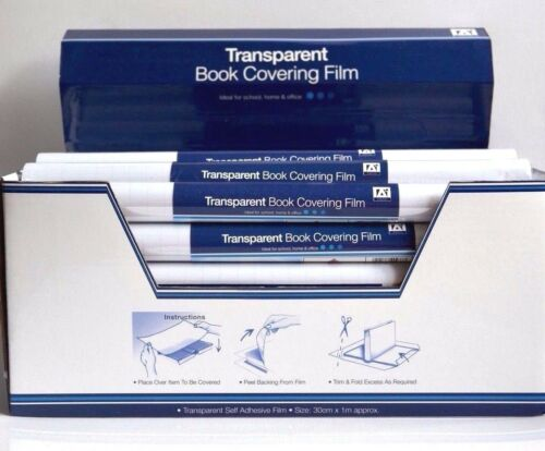 1 Roll of 30cm x 1m Quality Clear Transparent Self Adhesive Book Covering Film