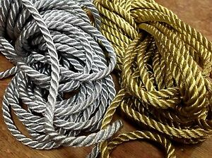 VINTAGE-FRENCH-3-16-034-Twisted-METALLIC-GOLD-or-SILVER-Rope-Cord-Trim-1yd