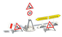 Ho Busch 1:87 Scale Construction Site Warning Signs Model Detail Kit 7789